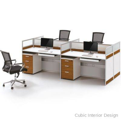 Customized modern office cubicles furniture 4 people
