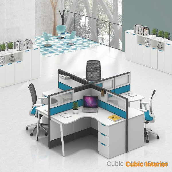 office interior design for 4 person modular cubicles