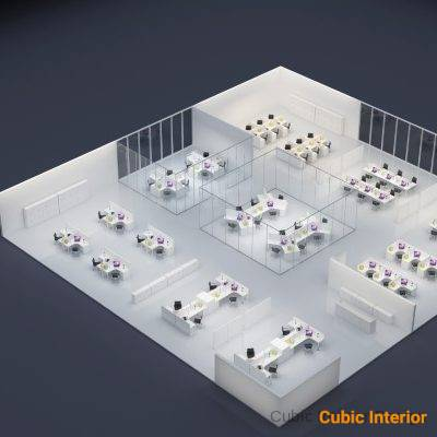office workstation architectural design for executive desk