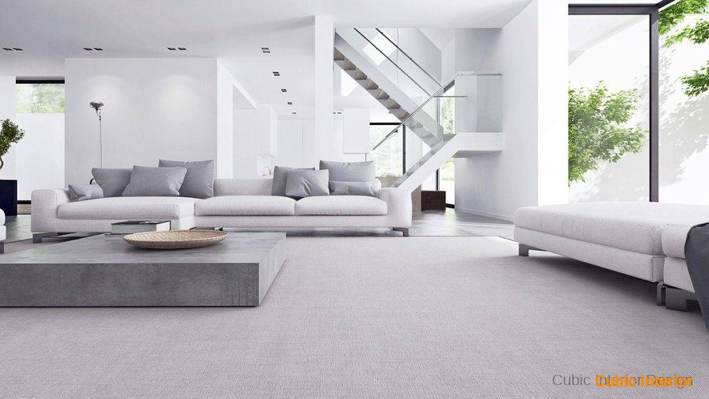 Minimalist interior design showing common room with sofas