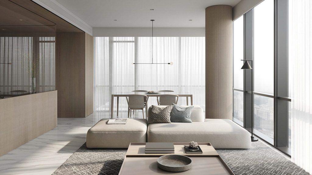 Minimalist Interior design showing that working plus rest room together.