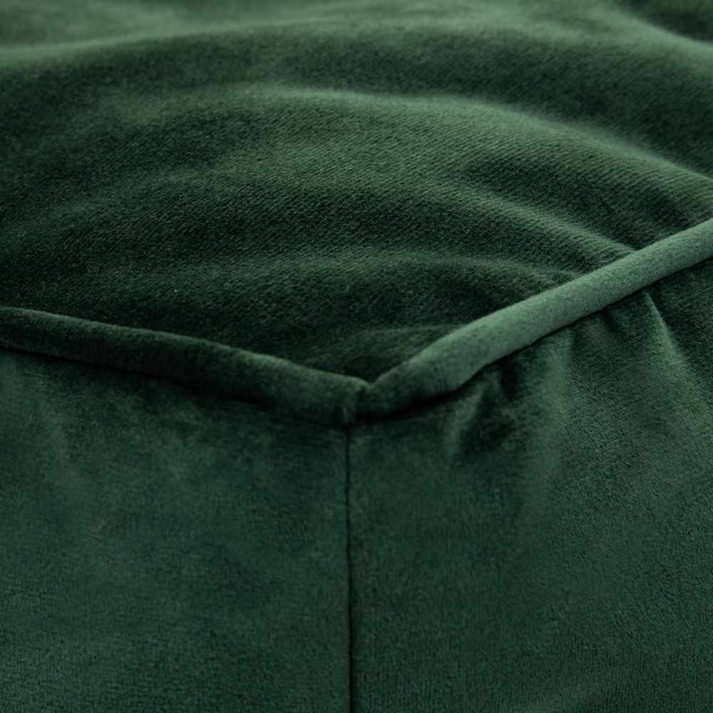 Velvet Footstool BeanBag forest green color