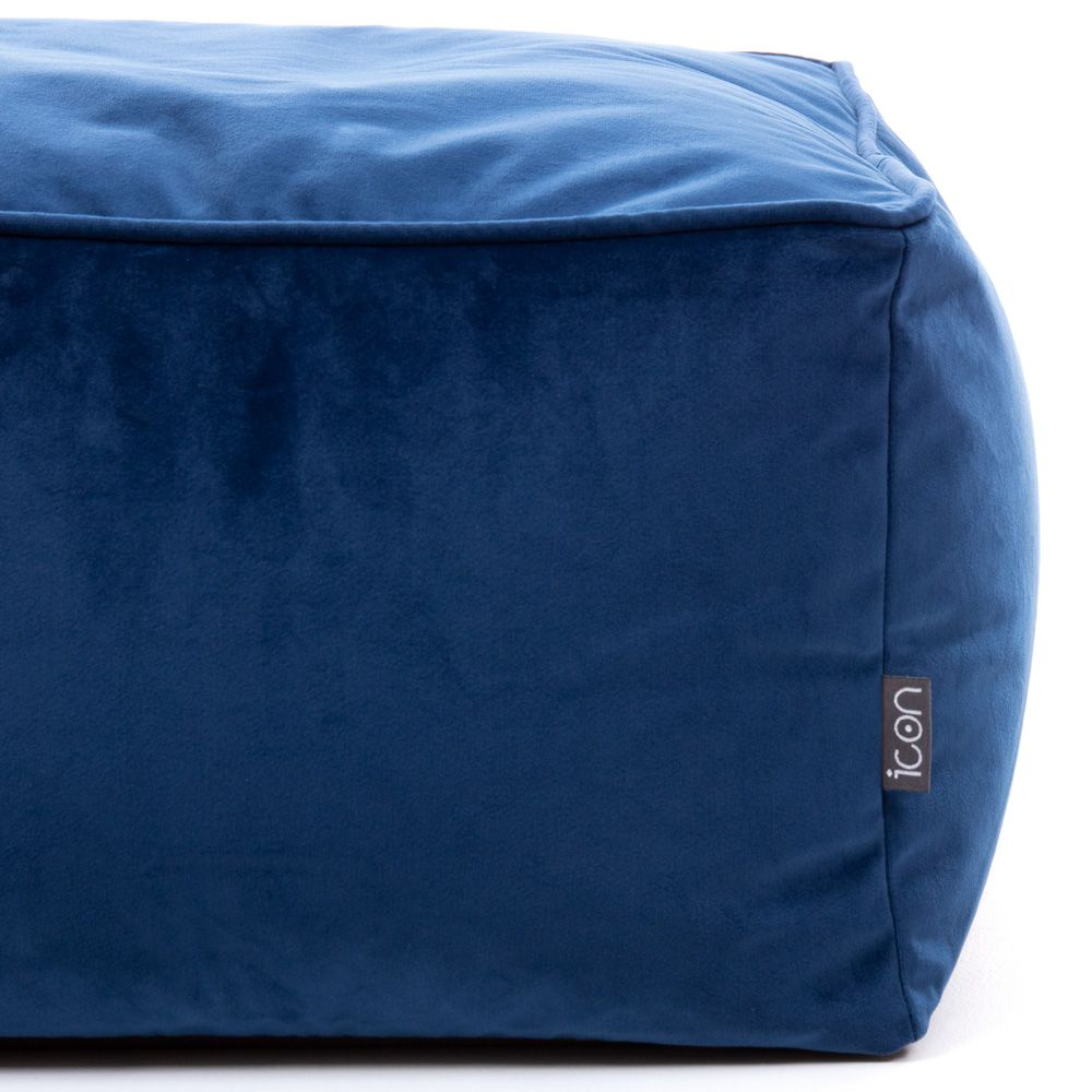 Velvet Footstool BeanBag navy blue color