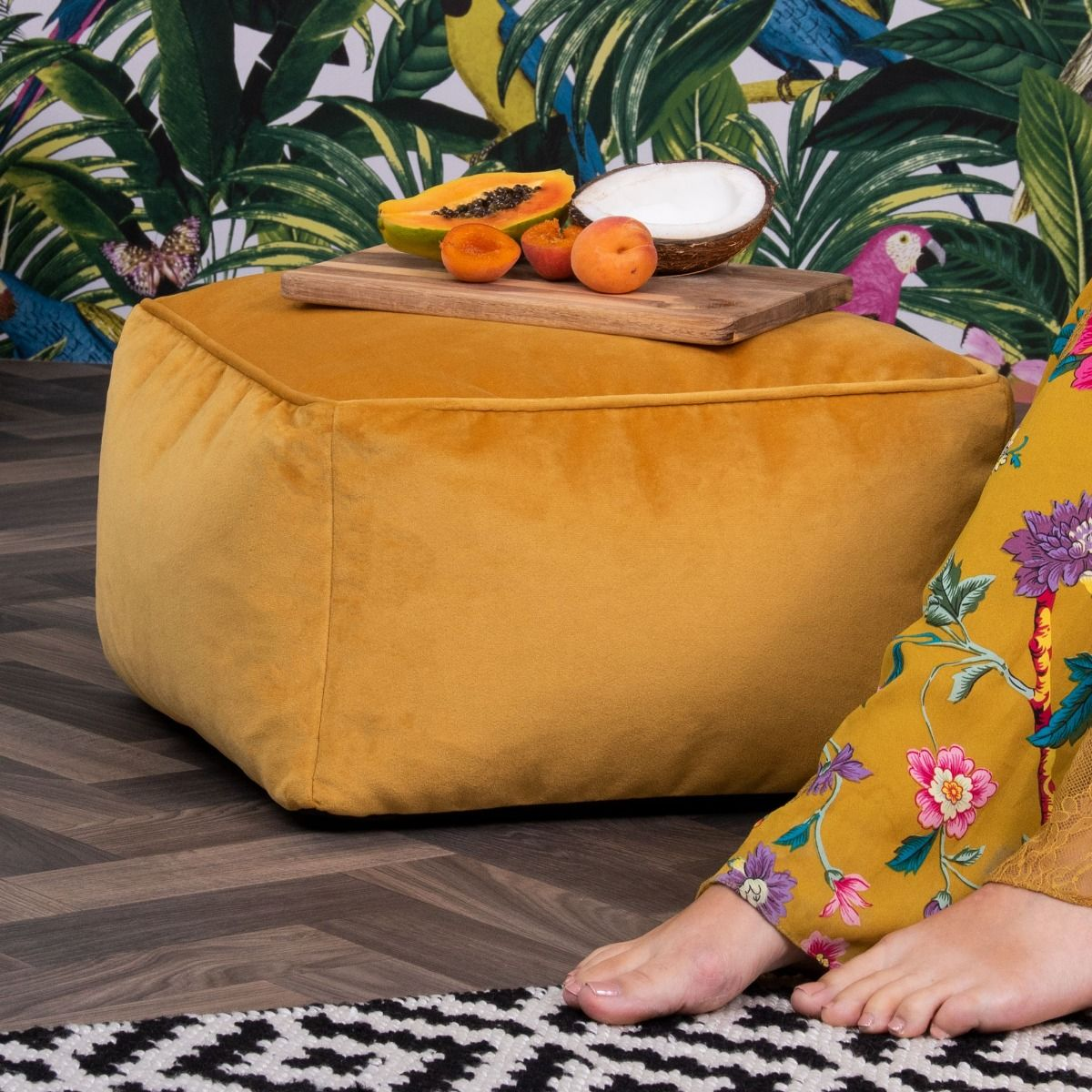 Velvet Footstool BeanBag yellow