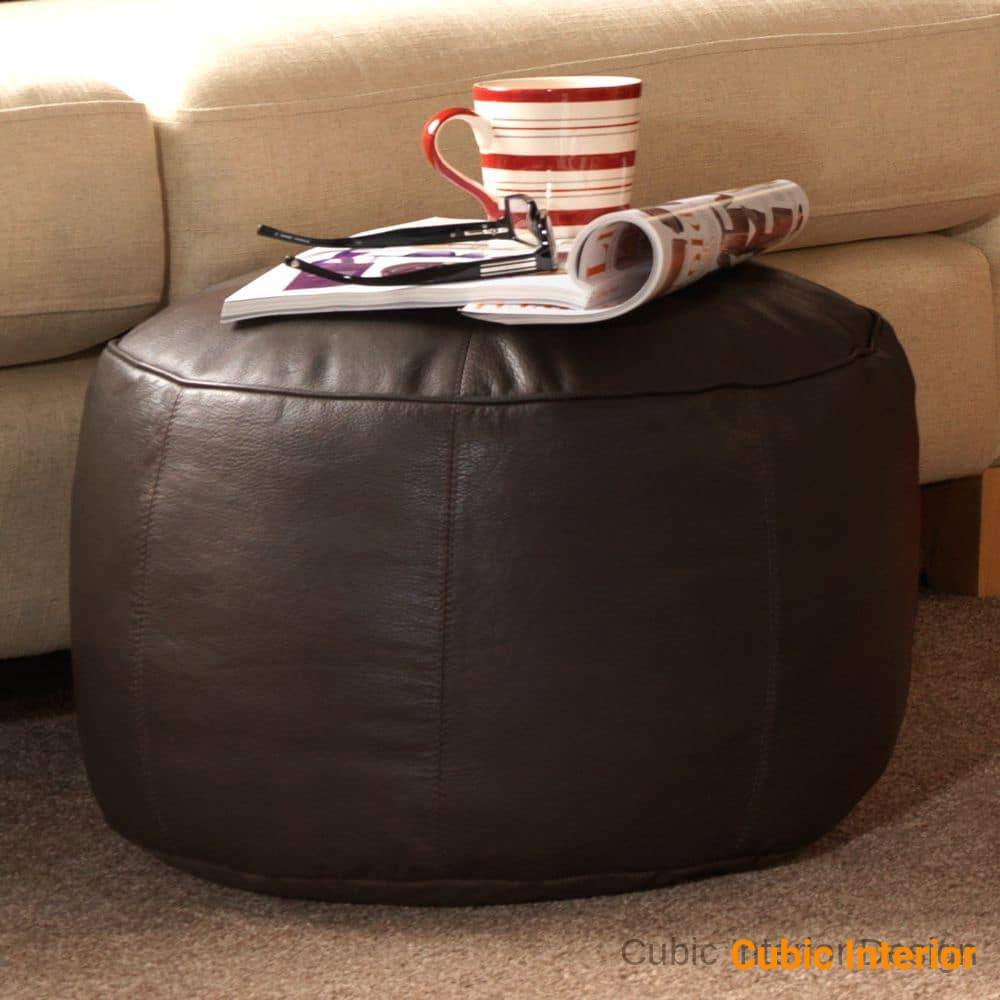 LEATHER FOOTSTOOL ROUND BEANBAG